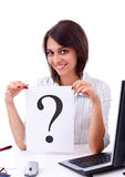 Business woman with question mark Royalty Free Stock Image