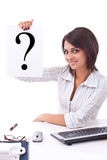 Business woman with question mark Royalty Free Stock Photos