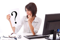 Business woman with question mark Stock Images