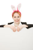 Business woman with rabbit ears. Royalty Free Stock Images