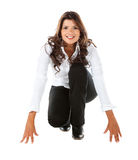 Business woman in racing position Royalty Free Stock Image