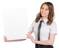 Business woman raised her hands white blank poster Stock Image