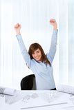 Business woman raising hands. Stock Photos