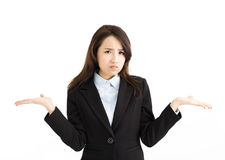Business woman raising her hands on both sides royalty free stock images