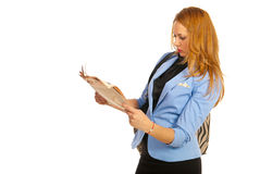 Business woman readind newspaper Stock Photo