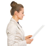 Business woman reading document Royalty Free Stock Images