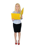 Business woman reading file Royalty Free Stock Photos