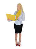 Business woman reading file Stock Photos