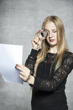 Business woman reading her contract Stock Photo