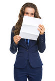 Business woman reading letter Stock Photography