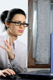 business woman reading news Royalty Free Stock Photography