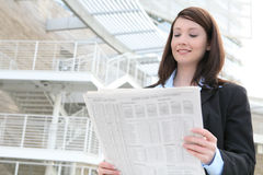 Business Woman Reading News Stock Image