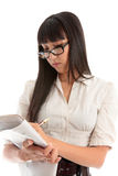 Business woman reading newspaper stock images