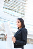 Business Woman Reading Newspaper Royalty Free Stock Photo