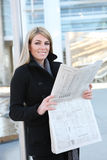 Business Woman Reading Newspaper Stock Photos