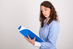 The business woman is reading in a record Stock Photography