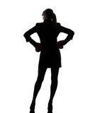 Business woman ready fighting boxing gloves silhouette Royalty Free Stock Images