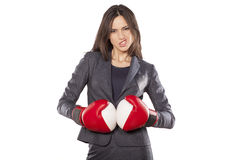 Business woman ready to fight Royalty Free Stock Photography