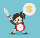 Business woman ready to fight Hold Shield of Time And Sword For. Success Business Concept Cartoon Illustration.eps.10 Stock Image