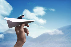 Business woman ready to launch with paper plane. Business career concept Stock Photos