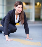 Business woman ready to race Royalty Free Stock Photos