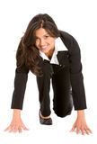 Business woman ready to race Royalty Free Stock Image