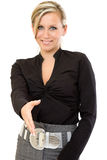 Business woman ready to shake hands Royalty Free Stock Photos