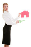 Business woman real estate agent holding red paper house key Stock Images