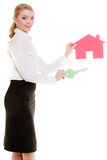 Business woman real estate agent holding red paper house key Royalty Free Stock Image