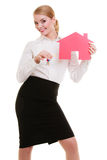 Business woman real estate agent holding red paper house keys Royalty Free Stock Images