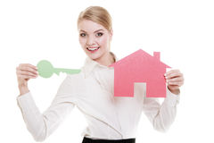 Business woman real estate agent paper house key Royalty Free Stock Images
