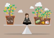 Business woman rebalancing portfolio asset allocation Stock Photo
