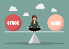 Business woman rebalancing portfolio. Between stock and bond Royalty Free Stock Photos