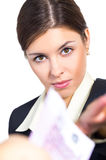 Business woman receives money Royalty Free Stock Photo