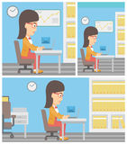 Business woman receiving or sending email. Royalty Free Stock Image