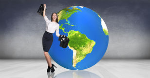 Business woman recline on the big earth Stock Photo