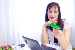 Credit cards-the best way to pay. Business woman recommended credit cards,photography Stock Photos