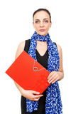 Business woman with a red binder Royalty Free Stock Images