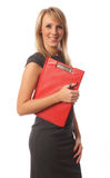 Business woman with red folder. Business woman smiling and red folder Stock Photography
