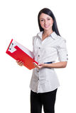 Business woman with red folder Stock Photography
