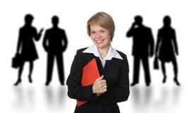 Business woman with red folder Stock Photo