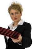 Business woman with red folder. Business woman with red kit in office Stock Photo