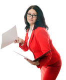 Business woman with red folder Stock Photos