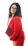 Business woman with red folder Royalty Free Stock Photos