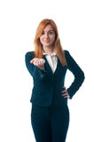 Business woman with red hair offers to buy Stock Photos