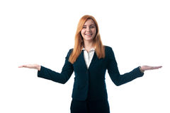 Business woman with red hair offers to choose Royalty Free Stock Images