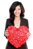 Business woman with red heart Stock Image