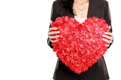 Business woman with red heart Royalty Free Stock Photography