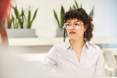 Business woman reflects on a problem royalty free stock photography