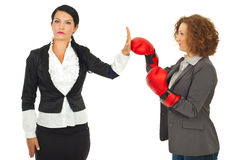 Business woman refuse fight Stock Photo